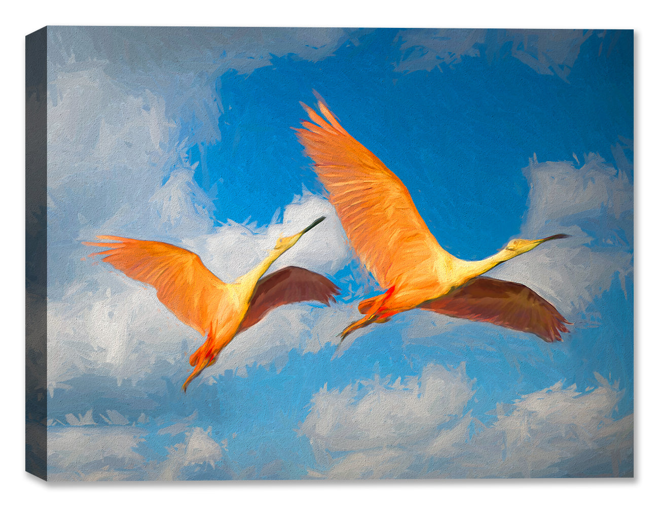 Spoonbills in Flight Painting - Canvas Art