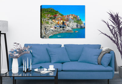 View of Cinque Terre Italy - Canvas Art Painting