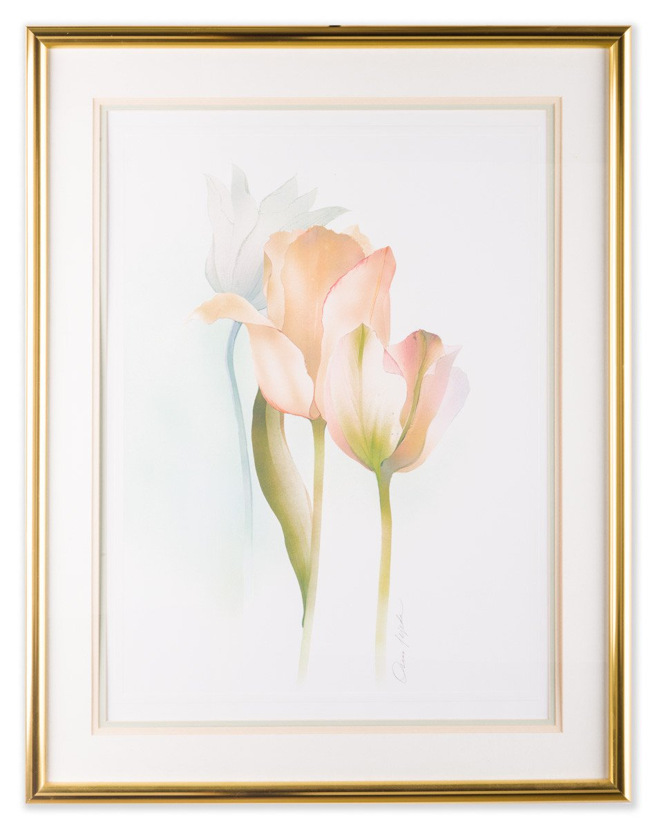 Tulips - by Oscar Tejeda (Lithograph) - Framed Art