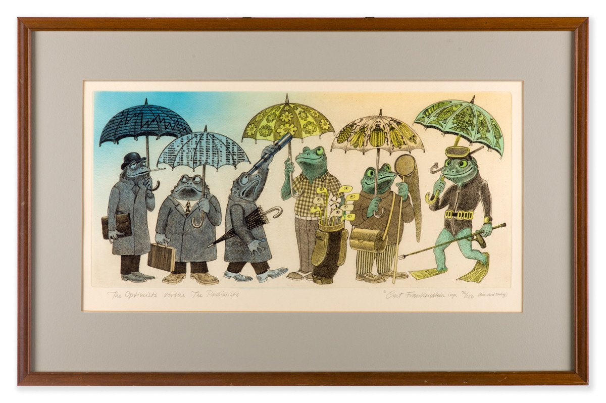 The Optimisit and the Pessimist - Hand Colored Etching by Curt Frankenstein - Framed Art