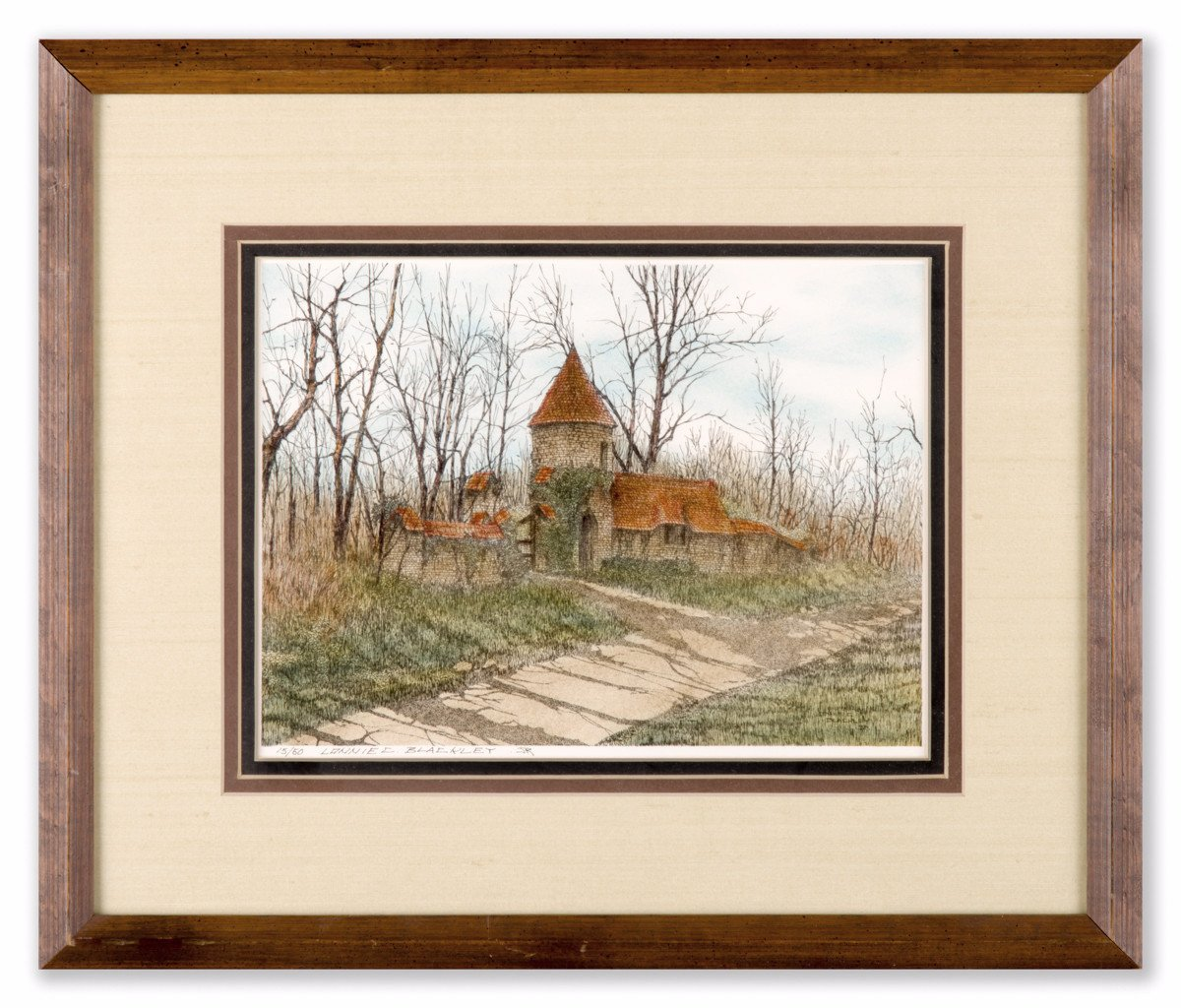 Castle in the Woods - Lonnie Blackley Jr. (Signed Lithograph) - Framed Art