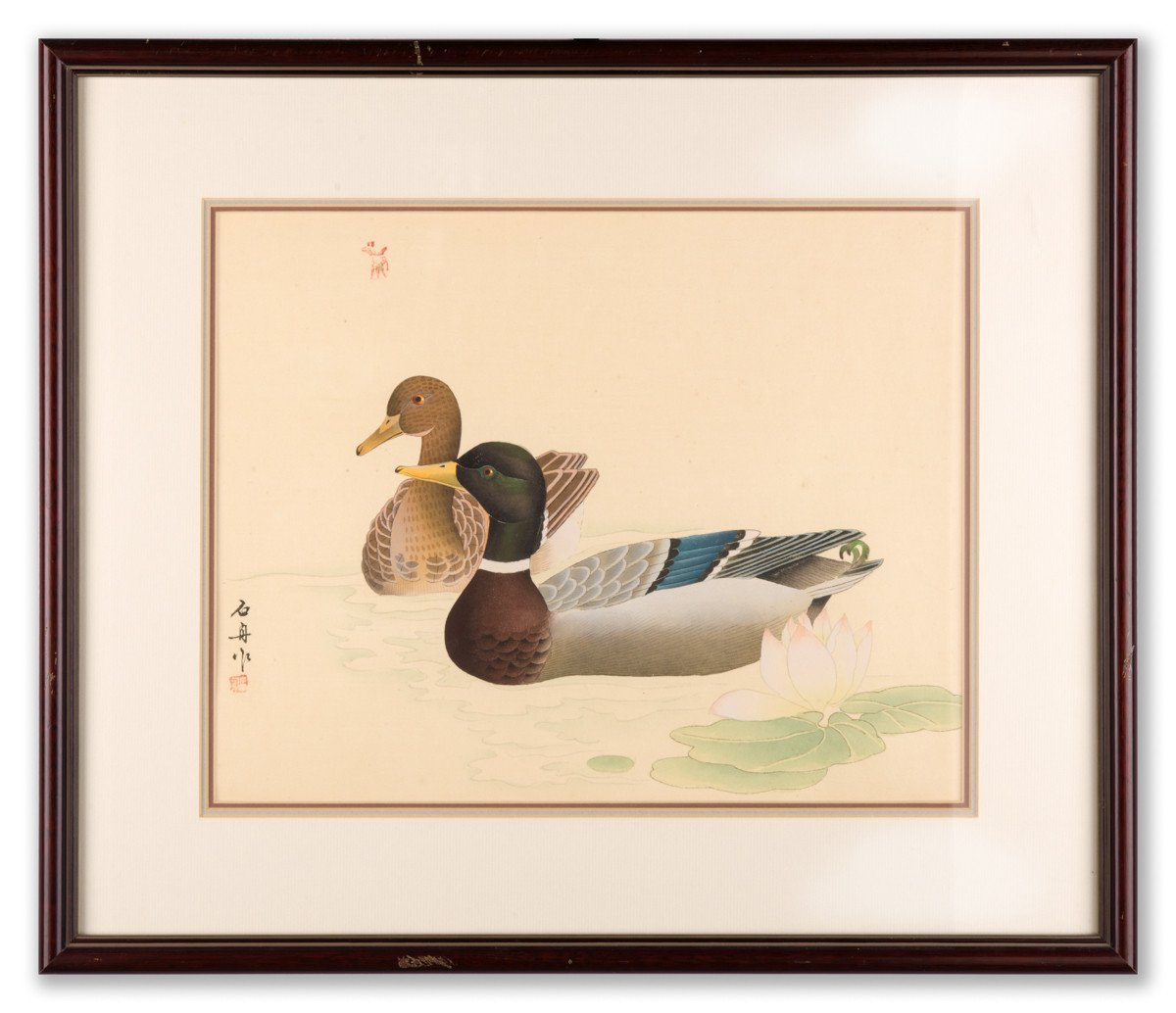 Mallards (Drake & Hen) - Fine Art Lithography - Framed Art