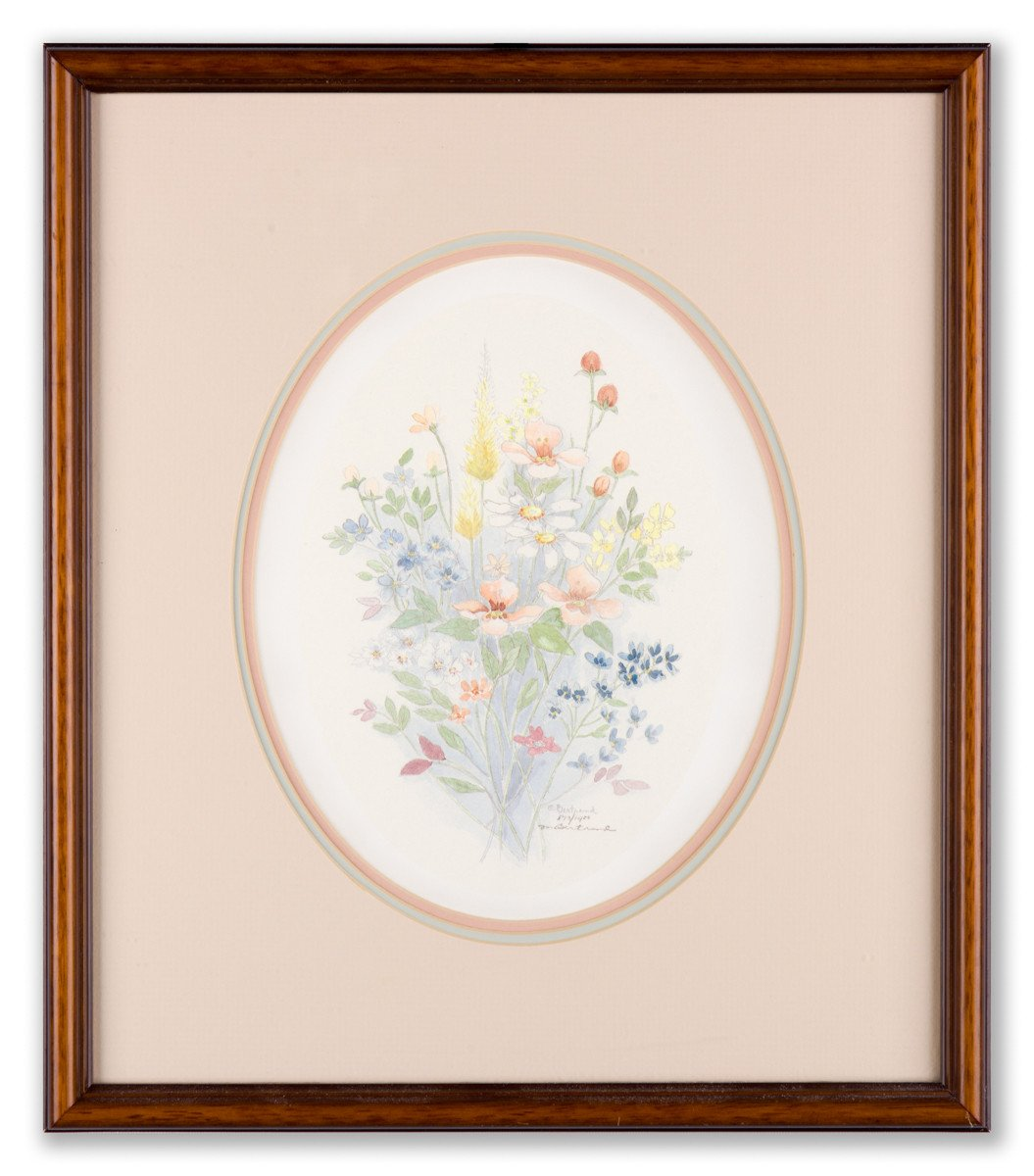 Flowers #2 by Mary Vincent Bertrand (signed lithograph) - Framed Art
