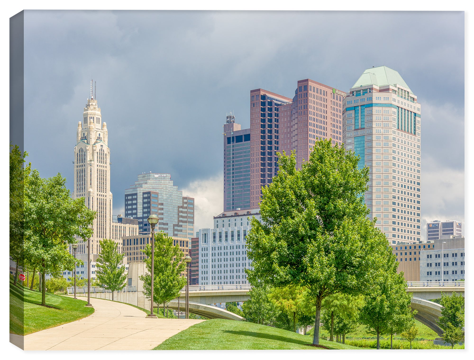 Downtown Columbus Ohio Riverwalk - Photograph by Ray Huffman