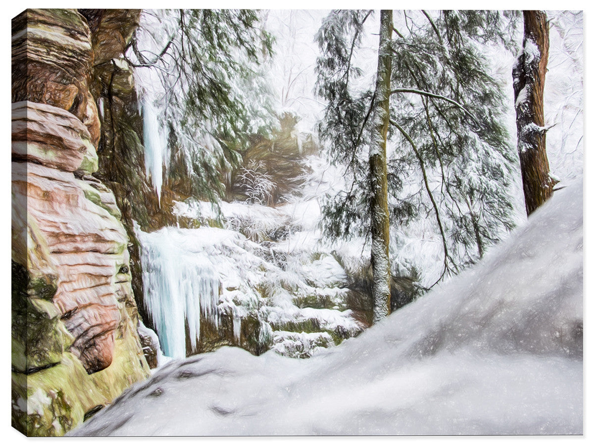 Winter at Hocking Hills - Canvas Art Print - Canvas Art Plus