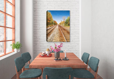 On the Railroad Tracks - Ink on Fine Art Canvas