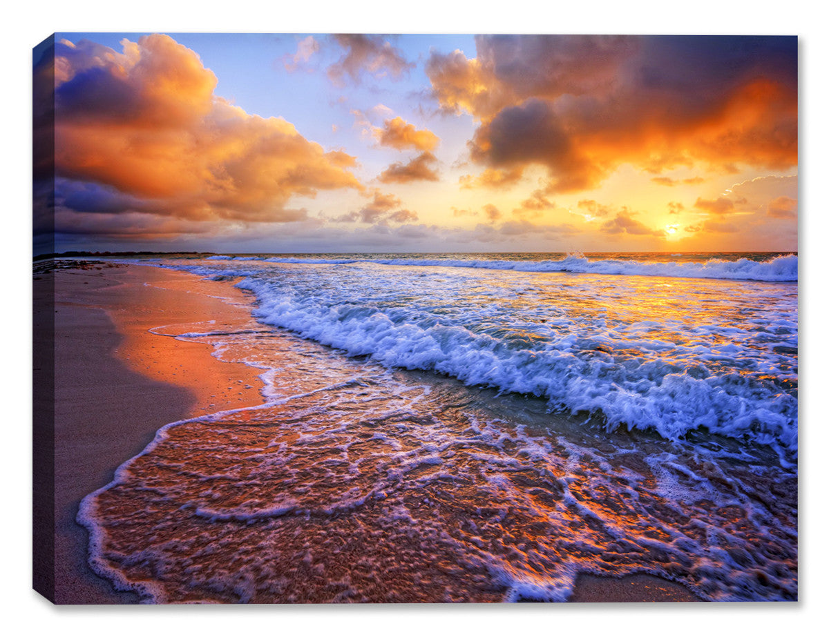 Ocean Sunset on the Beach - Canvas Art Plus