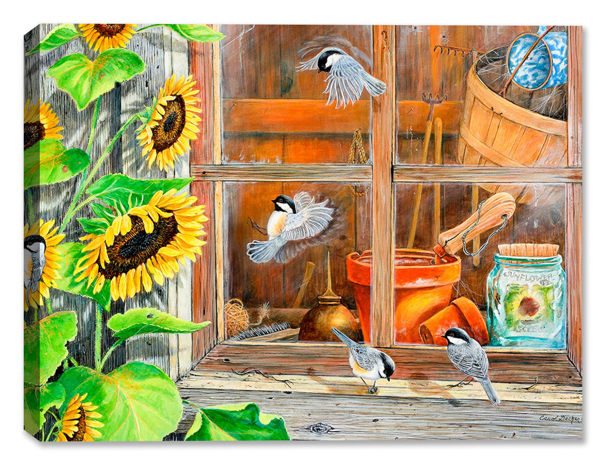 Sunflower Shed with Chickadees - Canvas Art Plus