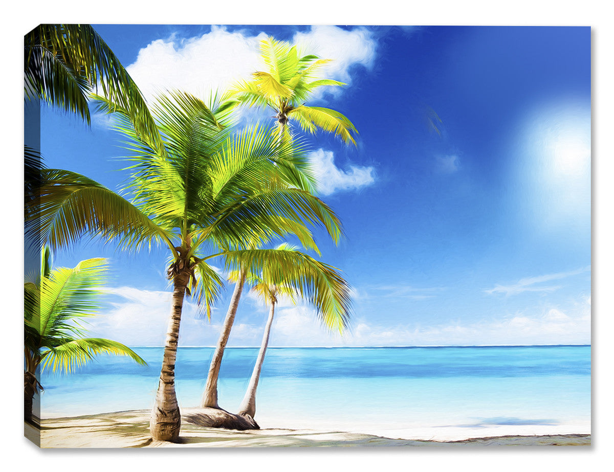 Tropical Beach & Palm Trees  on Ocean #1 - Canvas Art Plus