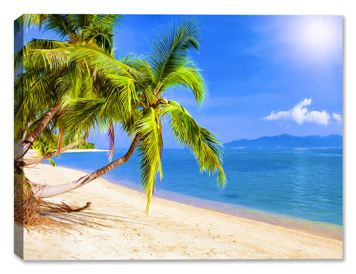 Tropical Beach & Palm Trees  #2 - Canvas Art Plus