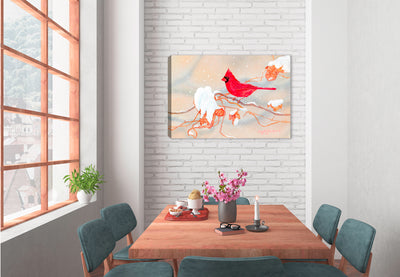 Winter Beauty Cardinal - Painting by Carol Decker