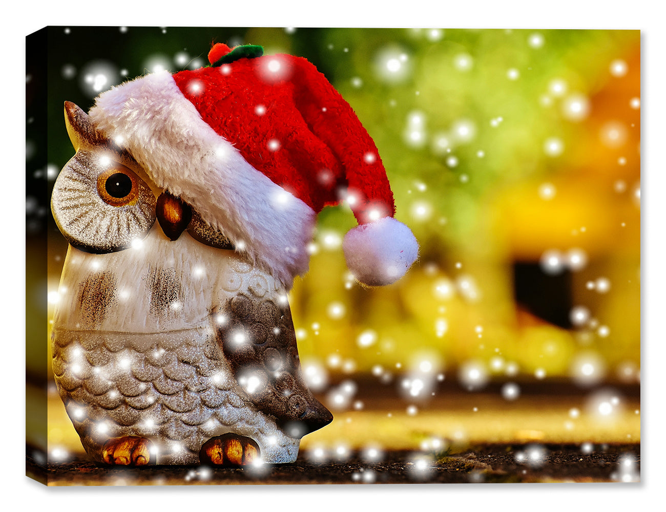 Christmas Owl with Snow - Canvas Art