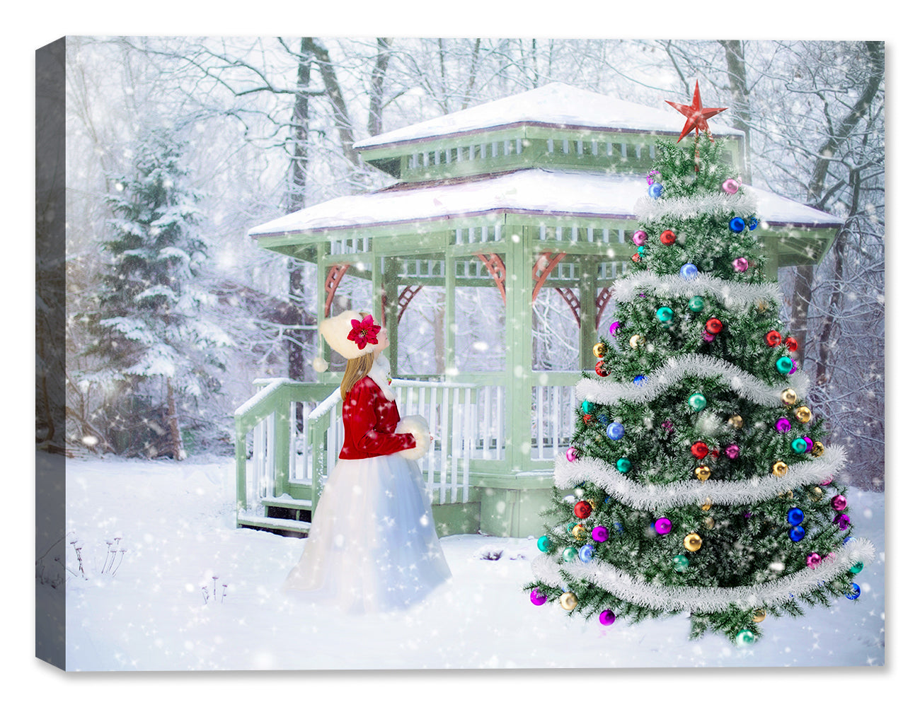 Christmas Tree and Snow - Canvas Art