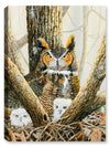 Ghosted Owls and Chicks in Nest - Canvas Art Plus