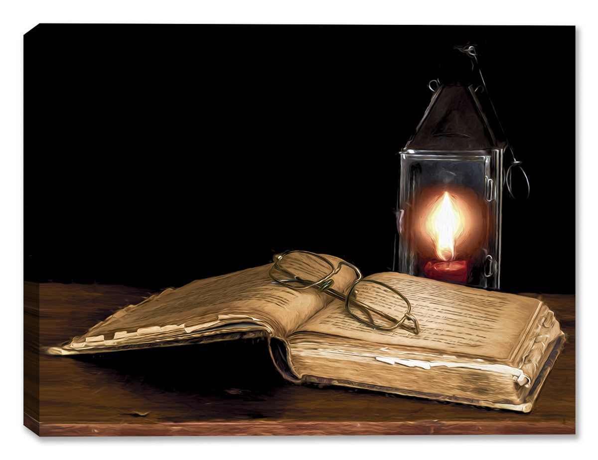 Book by the Lamp - Still Life Painting - Canvas Art Plus