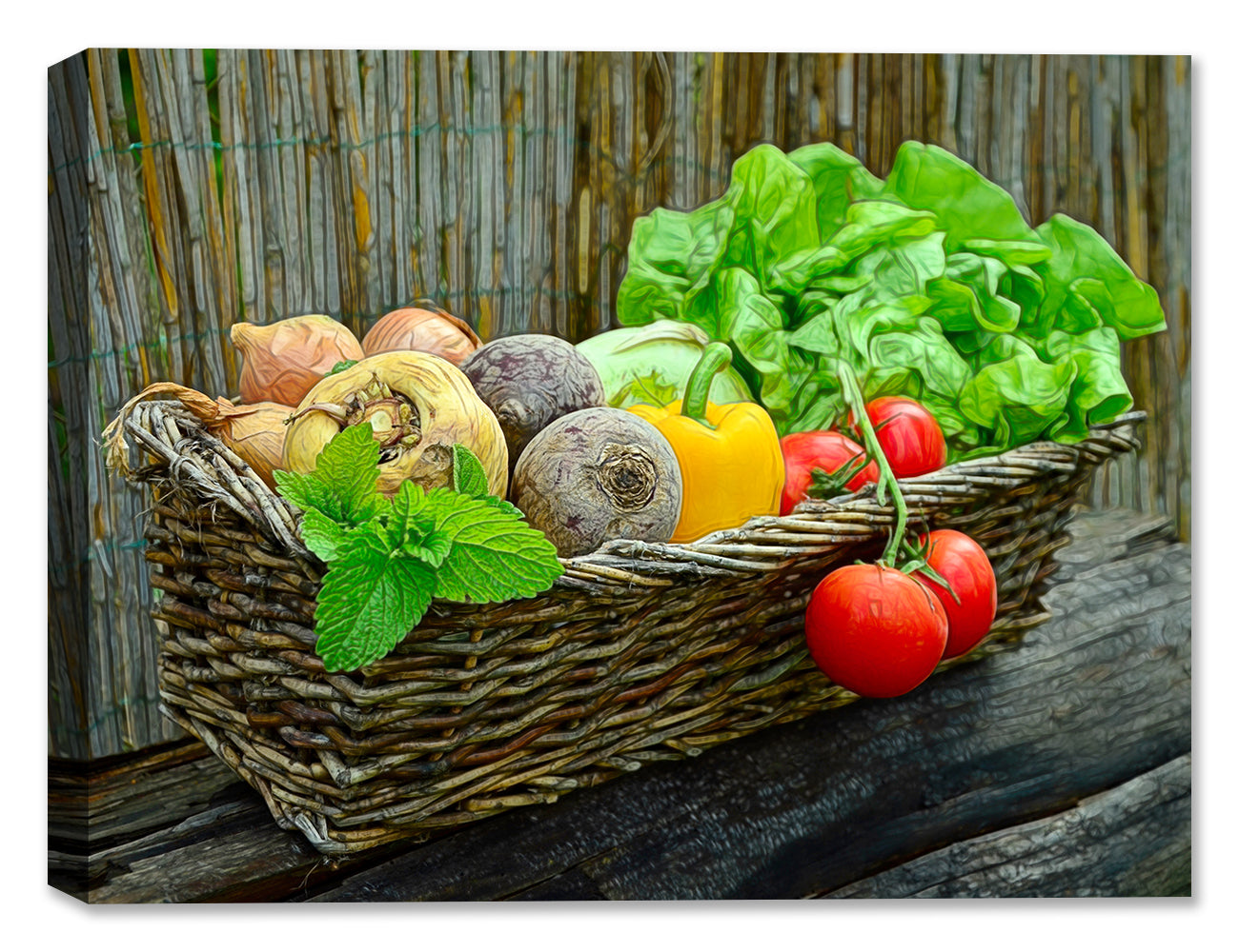 Vegetables in a Basket -Still Life Painting
