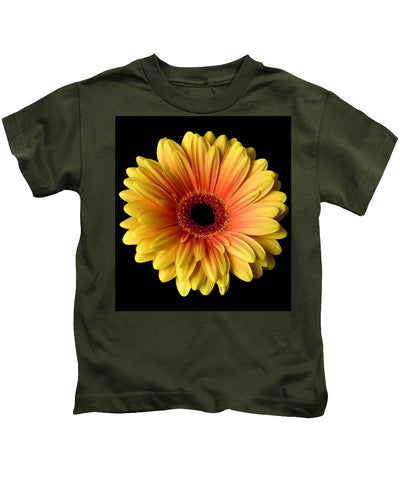 Sunflower On Black - Kids T-Shirt