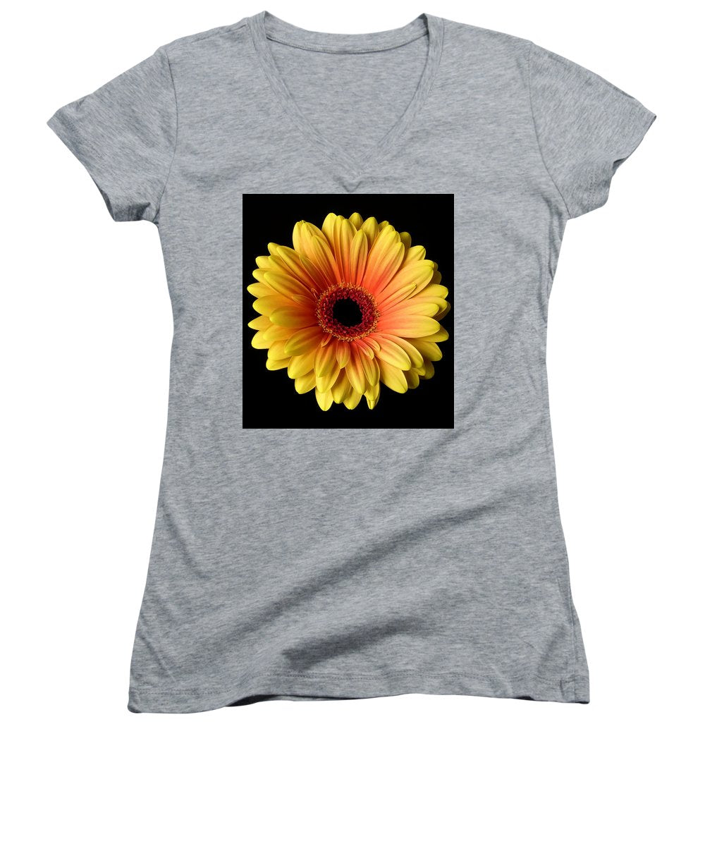 Sunflower On Black - Women's V-Neck