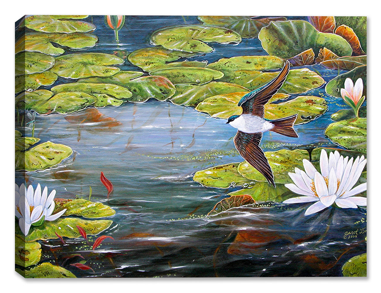 Tree Swallows and Lilies by Carol Decker - Canvas Art Plus