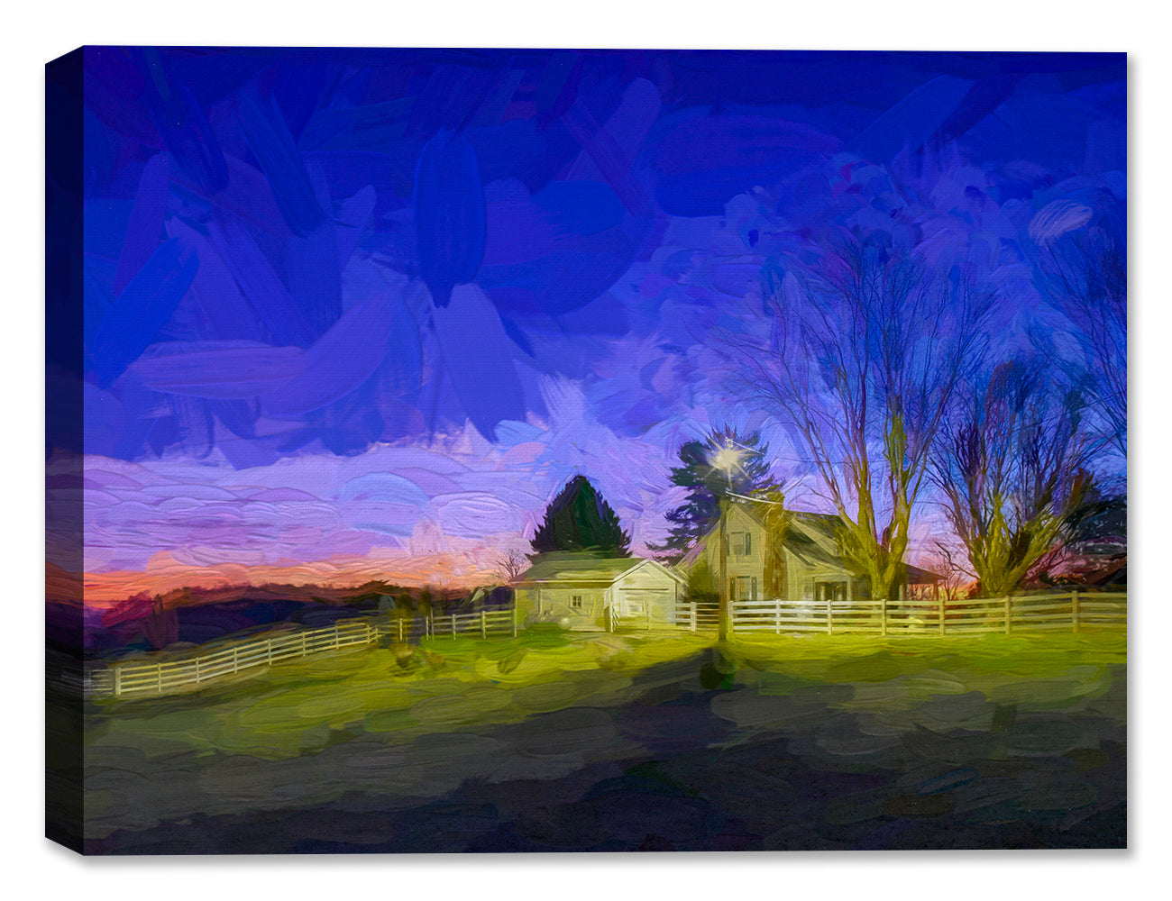 Light on at Dusk - Ohio Farm House