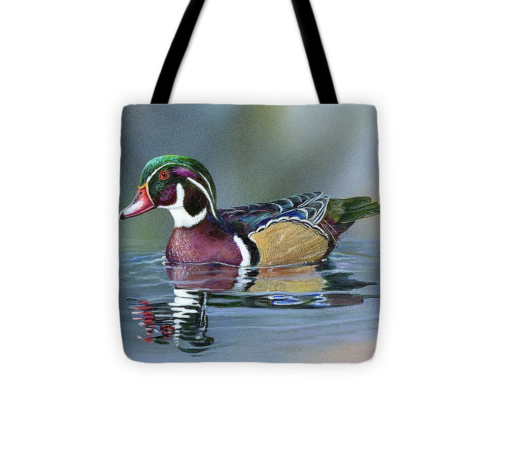 Wood Duck On Water - Tote Bag