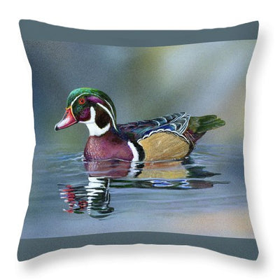 Wood Duck On Water - Throw Pillow