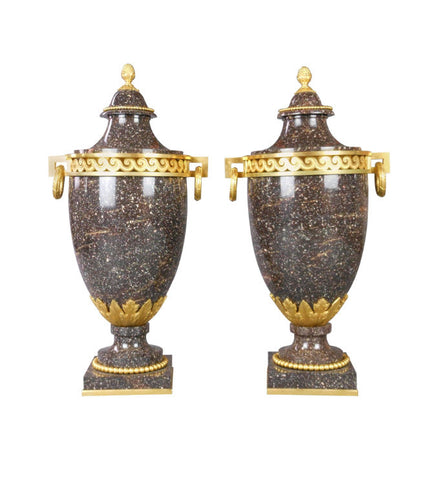 A Pair of Swedish Porphyry Urns