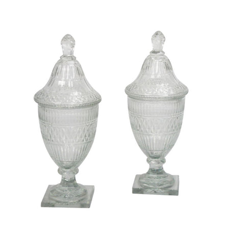A Pair of English Cut Glass Urns