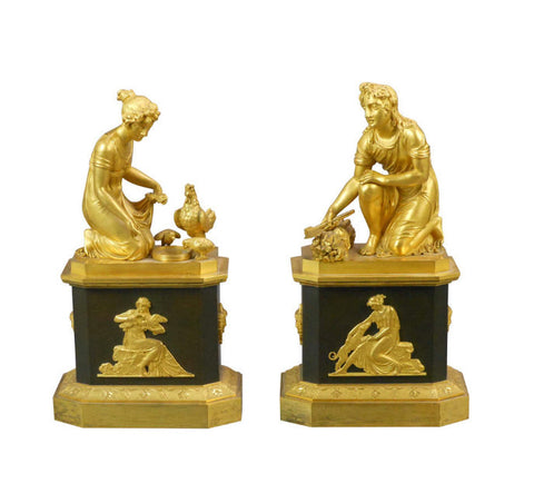 A Pair of Empire Gilt Bronze Sculptures