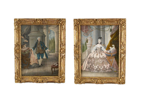 A Pair of Rococo Portraits