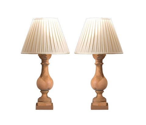 A Pair of French Terra Cotta Lamps