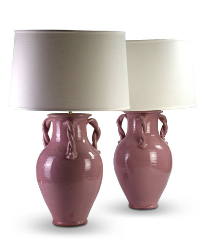 A Pair of Pink Pottery Lamps