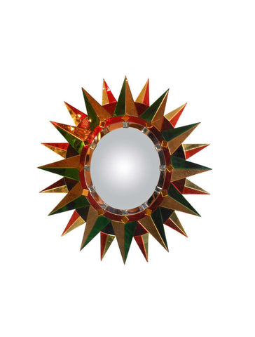 A French Polychrome Sunburst Mirror