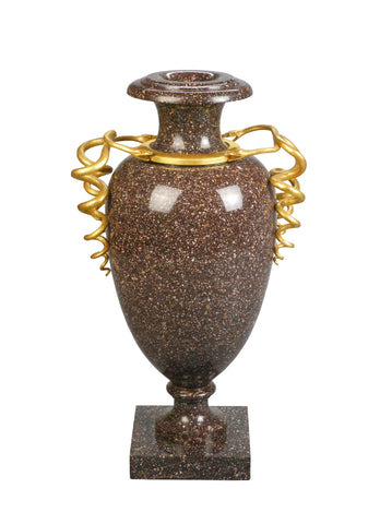 A Swedish Gilt Bronze Mounted Porphyry Urn