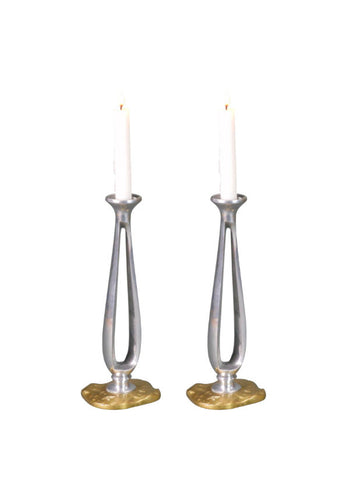 A Pair of French Pewter and Brass Candlesticks