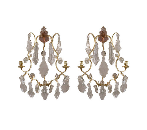 A Pair of Brass and Crystal Sconces