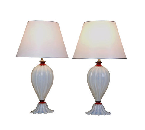 A Pair of Italian Opaline and Red Glass Lamps