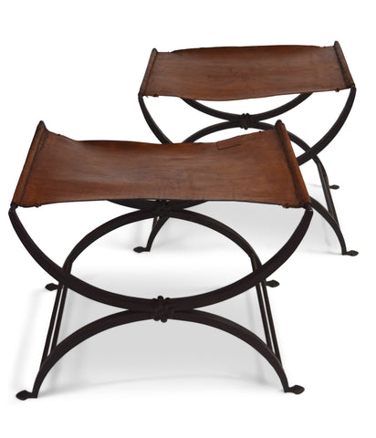 A Pair of American Wrought Iron and Leather Stools