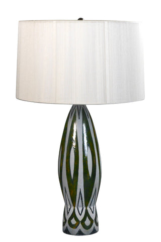 Charles Sucsan Grey and Green Glazed Lamp