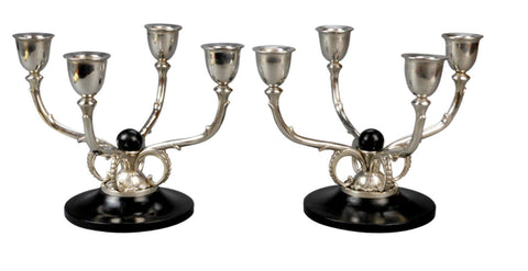 A Pair of Danish Silver Candelabra