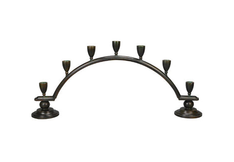A Danish Patinated Bronze Candelabra