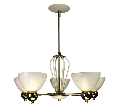 A Brass and Black Chandelier by Lightolier