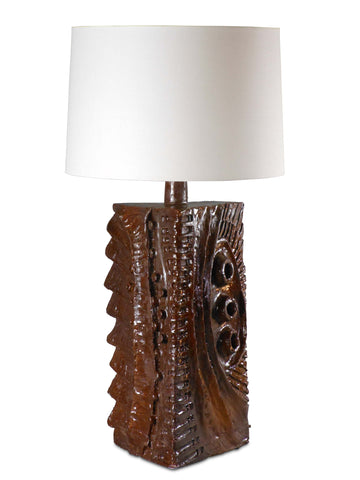 A Monumental Glazed Terra Cotta Lamp by Charles Sucsan. Signed.