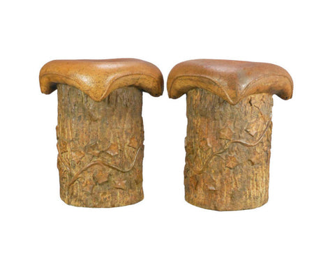 A Rare Pair of Swedish Tree Trunk Stools