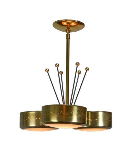 An American Brass Three Light Chandelier