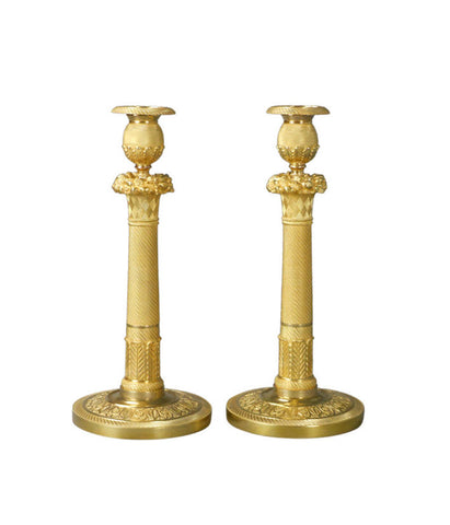 A Pair of French Gilt Bronze Candlesticks