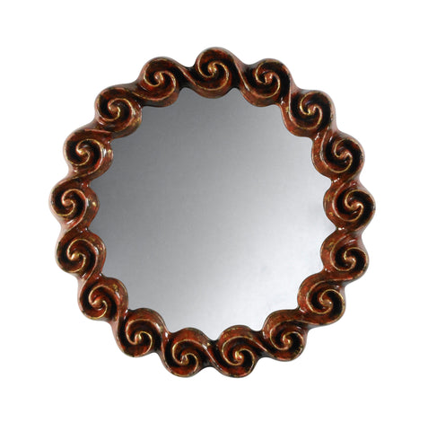 A Red and Gilt Stoneware Wave Mirror