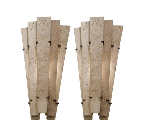A Pair of French Travertine Sconces