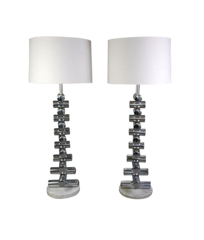 A Pair of Italian Steel and Marble Floor Lamps