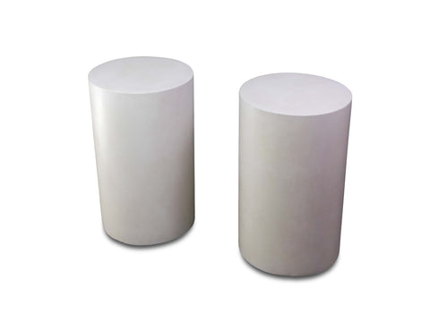 "A Pair of White Concrete ""Shaft"" Tables by Mike Marino"